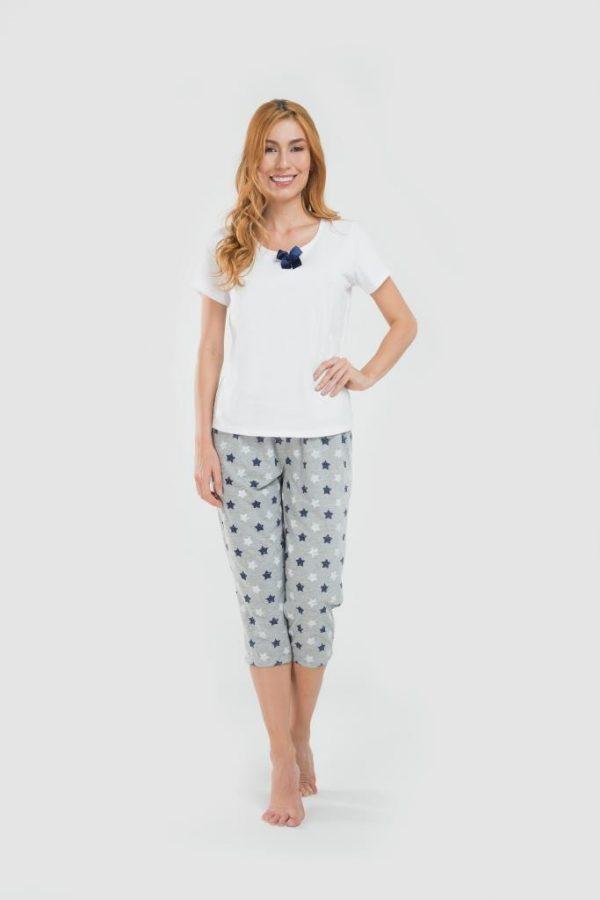 Pijama blusa capri gris