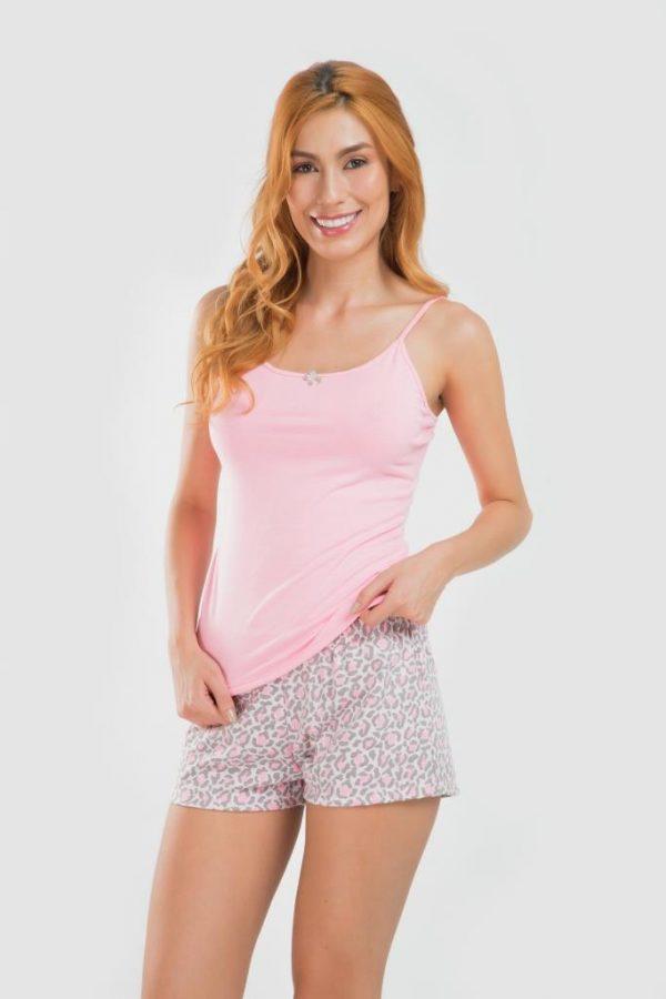 Pijama blusa short rosado neón