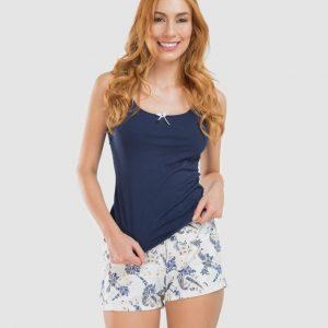 Pijama blusa short azul